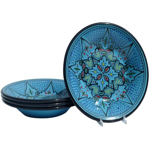 "Le Souk Ceramique Sabrine Design 9"" Pasta / Salad Bowl (Set of 4)"