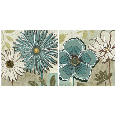 Moe's Home Collection Blue Daisy 2 Piece Painting Print on Canvas Set