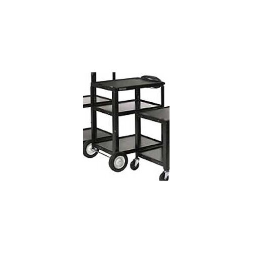 Luxor Open Shelf Fixed Height Table with Big Wheels, Casters and Electric
