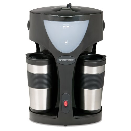 Toastess Twin Coffee Maker with 2 Travel Mugs