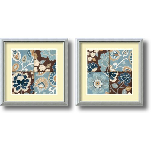 'Patchwork Motif' by Alain Pelletier 2 Piece Framed Painting Print Set