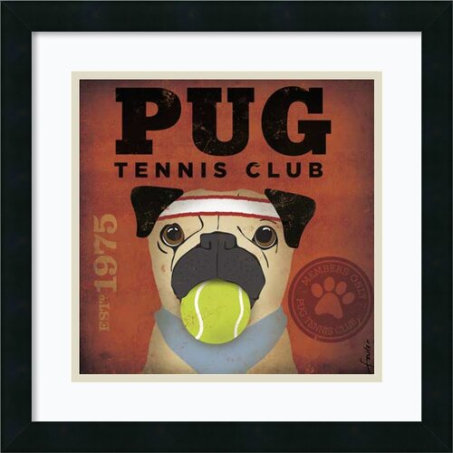 'Pug Tennis Club' by Stephen Fowler Framed Graphic Art