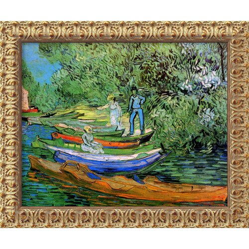 Amanti Art 'Bank of the Oise at Auvers' by Vincent Van Gogh Framed Painting Print