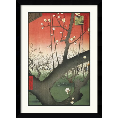 Amanti Art 'Plum Garden Over Shin-Ohashi Bridge and Atake' by Utagawa Hiroshige Framed Graphic Art