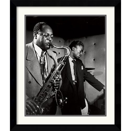 'Coleman Hawkins and Miles Davis' by William P. Gottlieb Framed Photographic Print