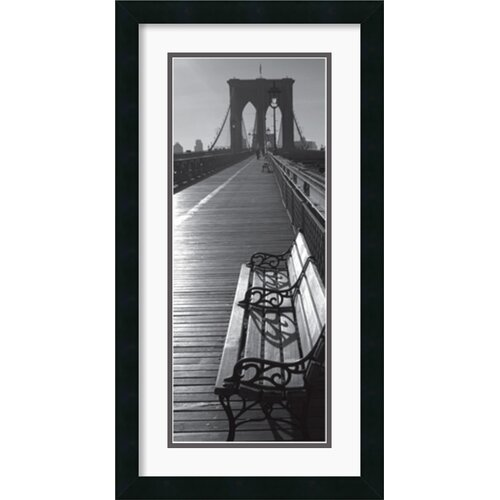 Brooklyn Bridge Benches Framed Photographic Print
