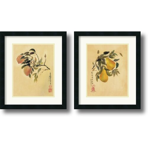 Amanti Art 'Peaches and Pears' by Suzanna Mah Fong 2 Piece Framed Painting Print Set
