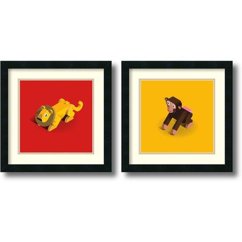 'Lion and Monkey' by Bo Virkelyst Jensen 2 Piece Framed Art Print Set