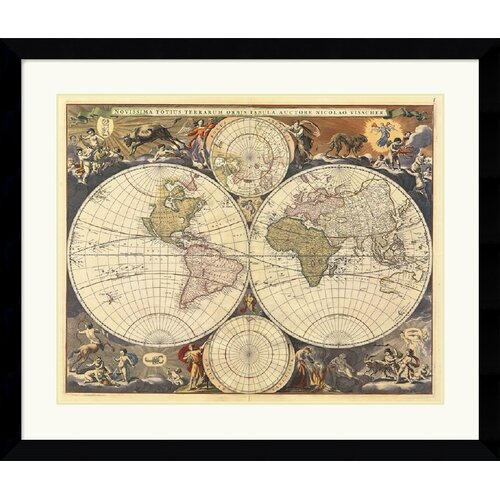 Amanti Art 'New World Map, 17th Century' by Ria Visscher Framed Graphic Art