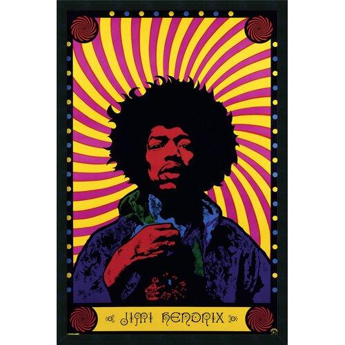 Jimi Hendrix Psychedelic Framed Graphic Art