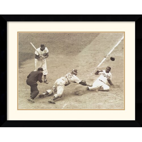 'Jackie Robinson Stealing Home, May 15, 1952' by Nat Fein Framed Memorabilia Print