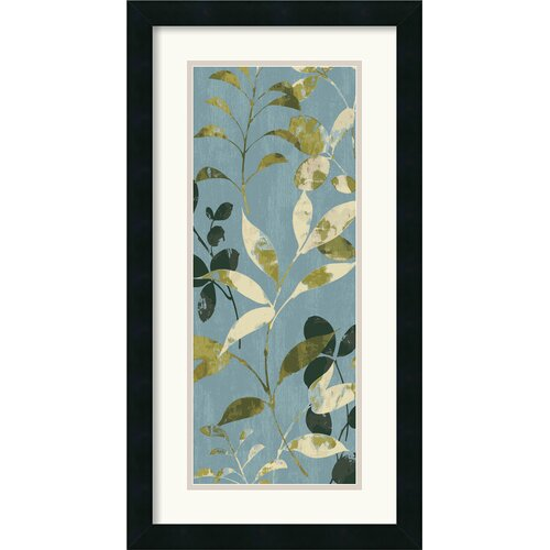 Amanti Art 'Leaves on Blue I' by Wild Apple Portfolio Framed Graphic Art