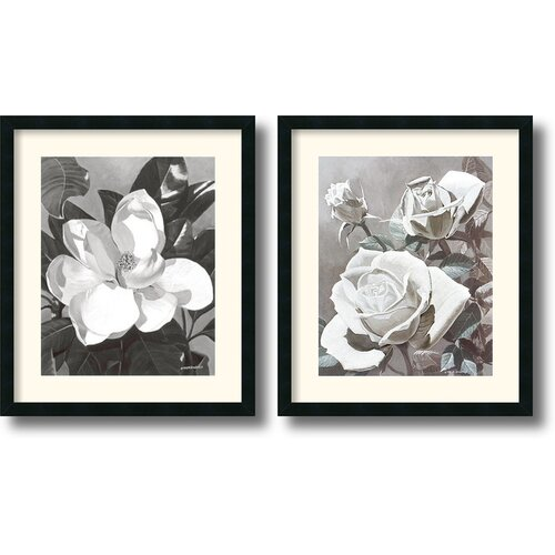 Amanti Art 'White Magnolia and Roses' by Marianne Hornbuckle 2 Piece Framed Photographic Print Set