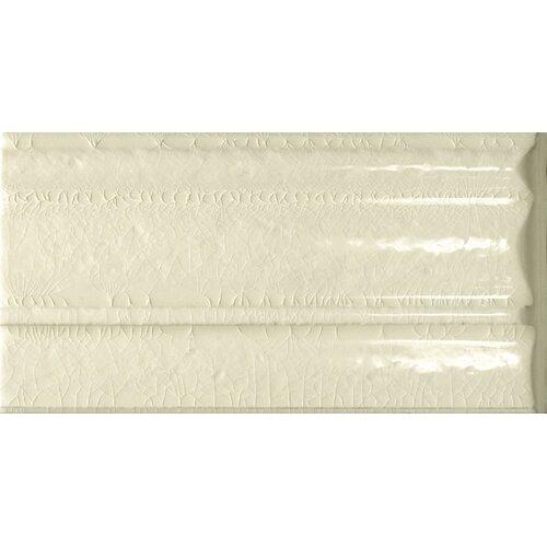 "Emser Tile Cape Cod 9"" x 5"" Crown Base Molding Stop Right Tile Trim in Artisan Cream Crackle"