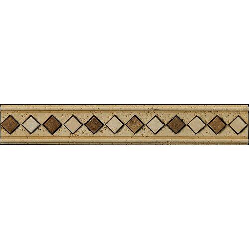 "Emser Tile Natural Stone 12"" x 2"" Romansa Ariel Travertine Molding in Beige"
