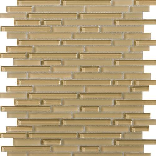 Emser Tile Lucente Random Sized Glossy Glass Mosaic in Honey Linear