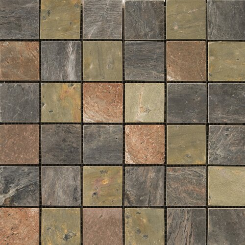 "Emser Tile Natural Stone 2"" x 2"" Honed Slate Mosaic in Copper"