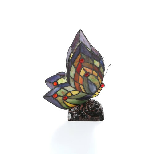 """Chloe Lighting Tiffany Butterfly 10"""" H Table Lamp with 91 Glass Pieces"""