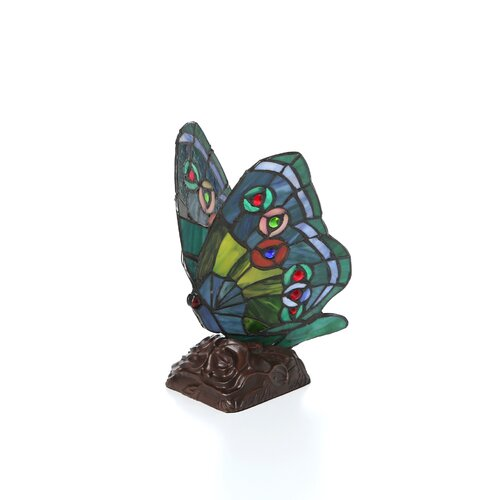 "Chloe Lighting Tiffany Butterfly 10"" H Table Lamp with 135 Glass Pieces"