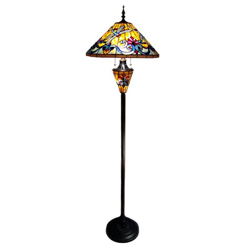 Chloe Lighting Tiffany Style Dragonfly Double Lit Floor Lamp