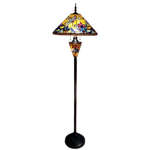 Chloe Lighting Tiffany Style Dragonfly Double Lit Floor Lamp