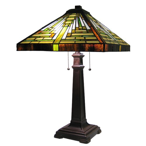"""Chloe Lighting Tiffany Mission 25"""" H Table Lamp with Square Shade"""