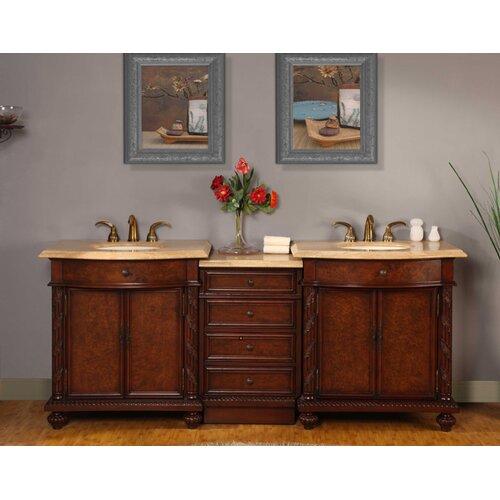 """Silkroad Exclusive Victoria 84"""" Double Sink Bathroom Vanity Set"""