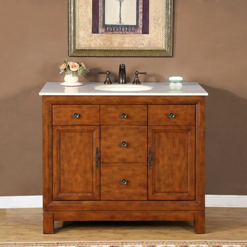 "Silkroad Exclusive Frances 42"" Single Sink Bathroom Vanity Set"