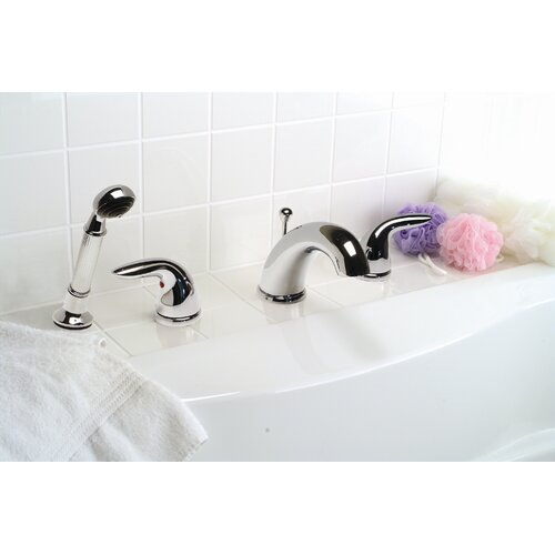 Premier Faucet Sanibel Double Handle Diverter Roman Tub Faucet with Personal Side Shower Head