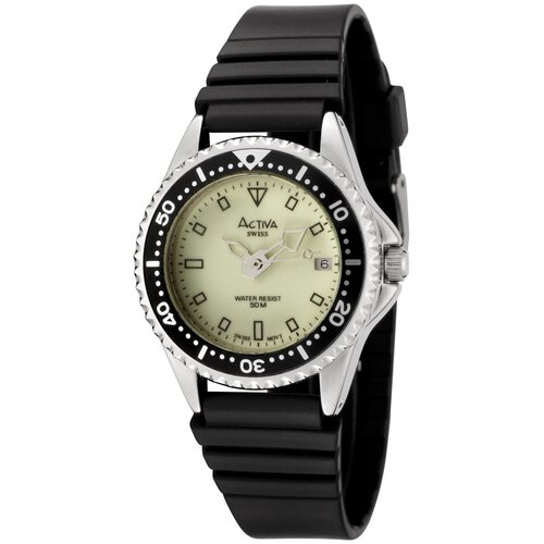 Activa Watches Women's Luminous Dial Watch in Black