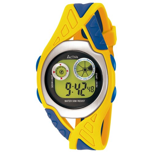 Midsize Digital Watch in Yellow and Blue