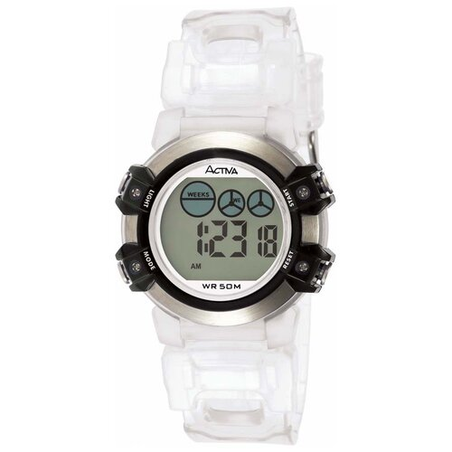 Midsize Plastic Digital Watch in Transparent and Black