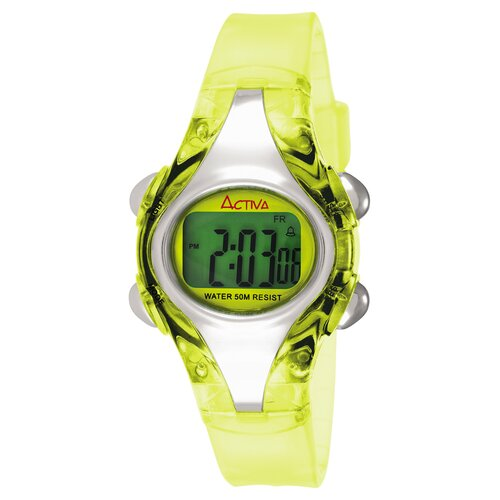 Women's Plastic Digital Multi-Function Watch in Light Green Translucent
