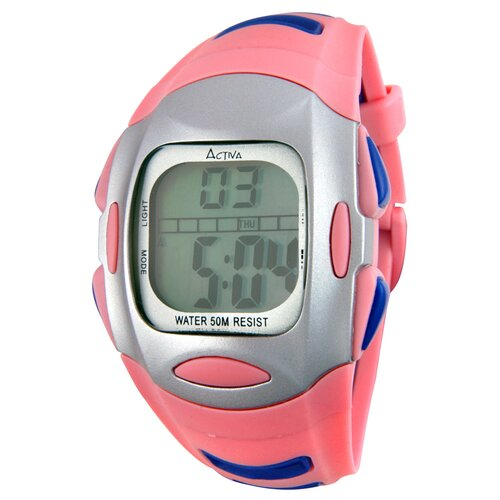 Women's Plastic Digital Watch in Pink and Blue