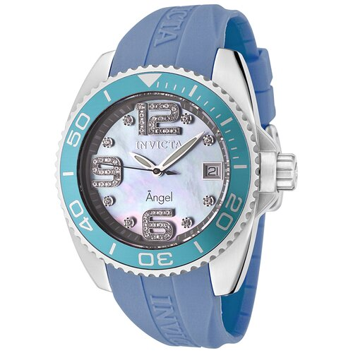 Women's Angel Blue Mother of Pearl Dial Watch with White Diamond and Light Blue Rubber ...