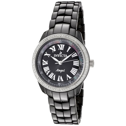Invicta Women's Angel Diamond Black Dial Watch in Black Ceramic
