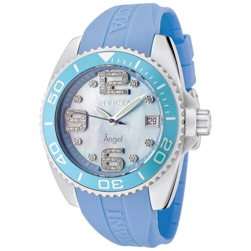 Women's Angel Crystals MOP Light Blue Polyurethane Watch