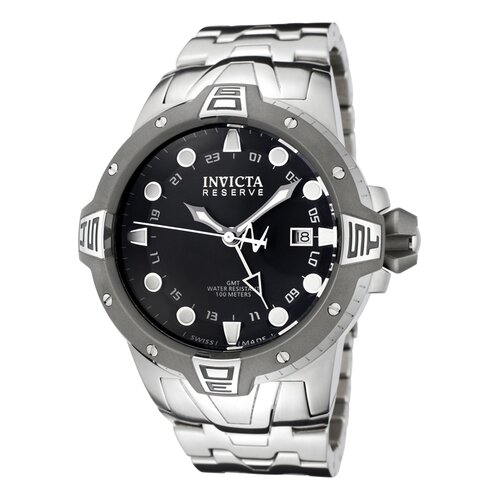 Men's Reserve GMT Black Dial Stainless Steel Watch
