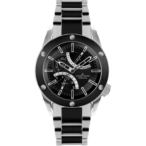 Men's Liverpool GMT Watch in Silver and Black