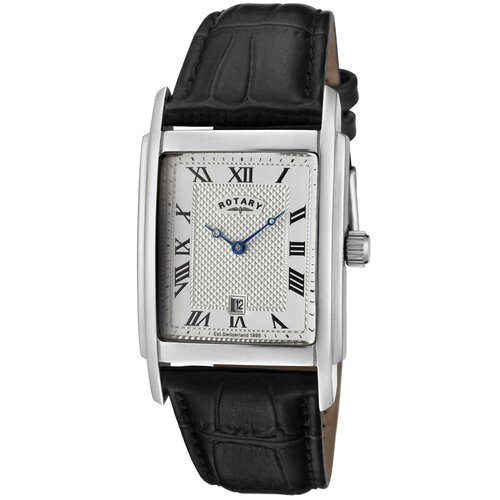 Rotary Watches Men's Black Leather Watch with Silver Textured Dial