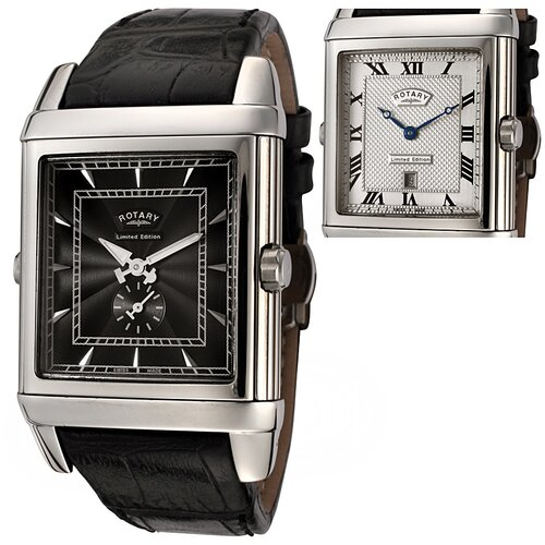 Rotary Watches Men's Revelation Reversible Face Black Leather Watch with Silver Textured Dial
