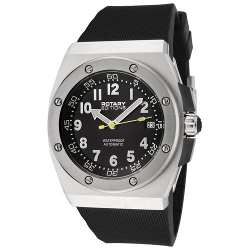 Editions Automatic Black Dial Black Rubber Watch