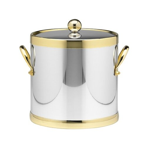 Kraftware Americano 3 Qt Ice Bucket with Brass Band in Chrome