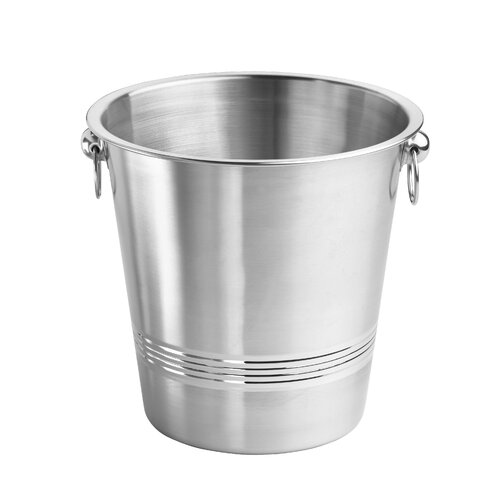 Single Wall Brushed Champagne Bucket with 3 Circle Polished