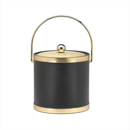 Kraftware Sophisticates Ice Bucket with Metal Cover in Black