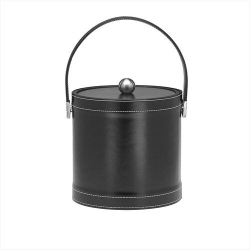 Stitched 3 Qt Ice Bucket with Stitched Handle in Black