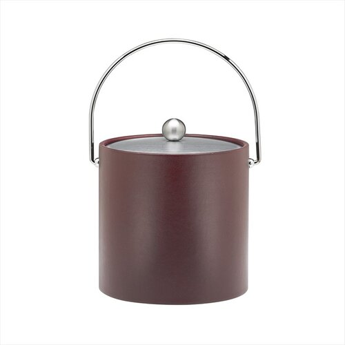 Soho 3 Qt Leatherette Ice Bucket with Bale Handle in Claret