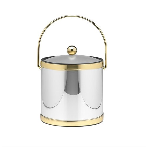 Mylar 3 Qt Ice Bucket with Brass Band in Polished Chrome