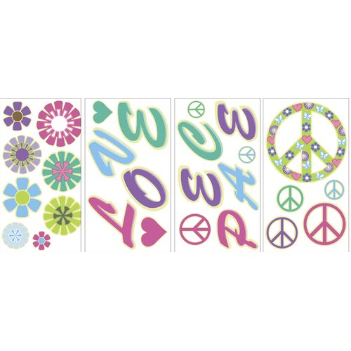 WallPops! Peace Love Flowers Glow in the Dark Wall Decal Kit