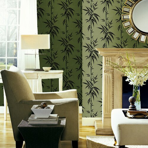 Brewster Home Fashions Ink Bamboo Foiled Wallpaper